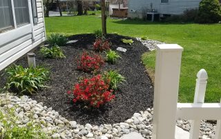 new mulch with pink & red flowers